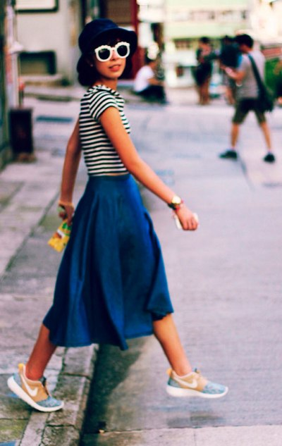 Denim-Midi-Skirt-Stripes-Tee-Nike