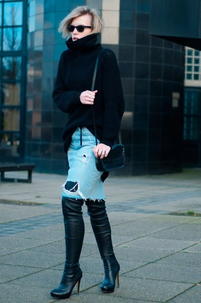 Denim-Midi-Skirt--winter-black-sweater-boots