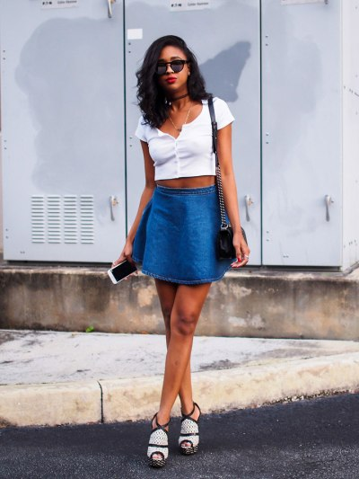 Denim-Short-Skirt-White-Tank-top