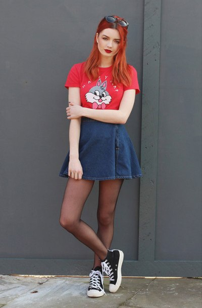 Denim-Skater-Skirt-Redhair-Red-tee