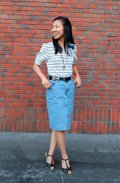 Denim-Skirt-Casual-Stripes