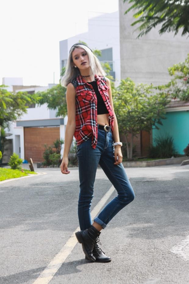 Blue Jeans Punk Rock Look De Lilac-6