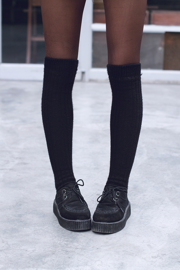 Borgoña Grunge DeLilac High knee socks