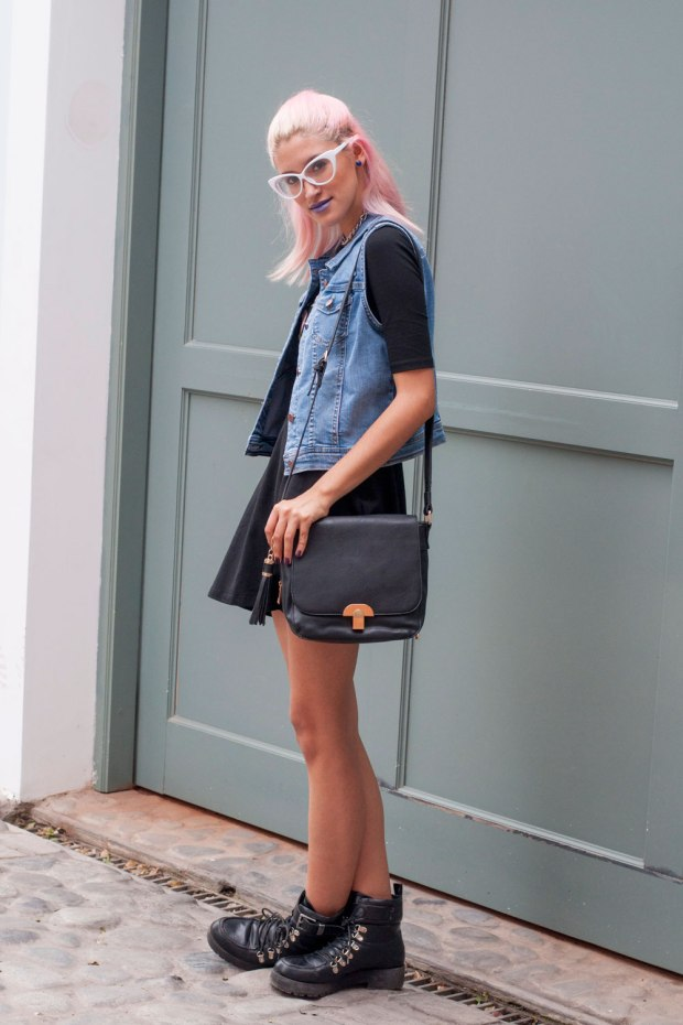 Black dress with denim vest Now Lover DeLilac..jpgg