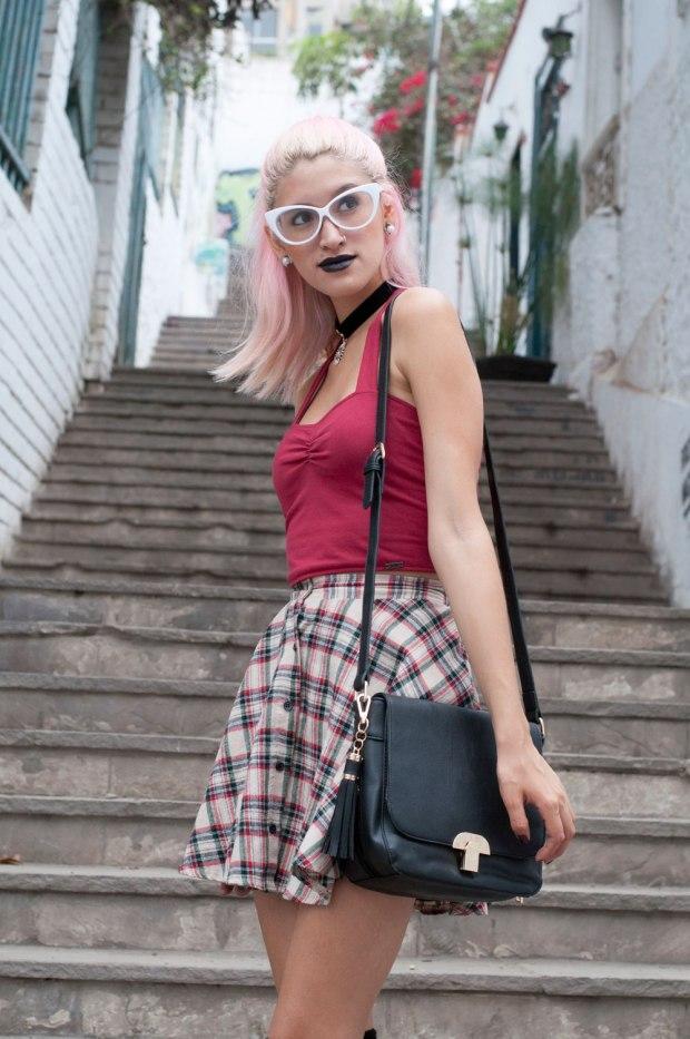 Falda Tartan Grunge Look Delilac (1)