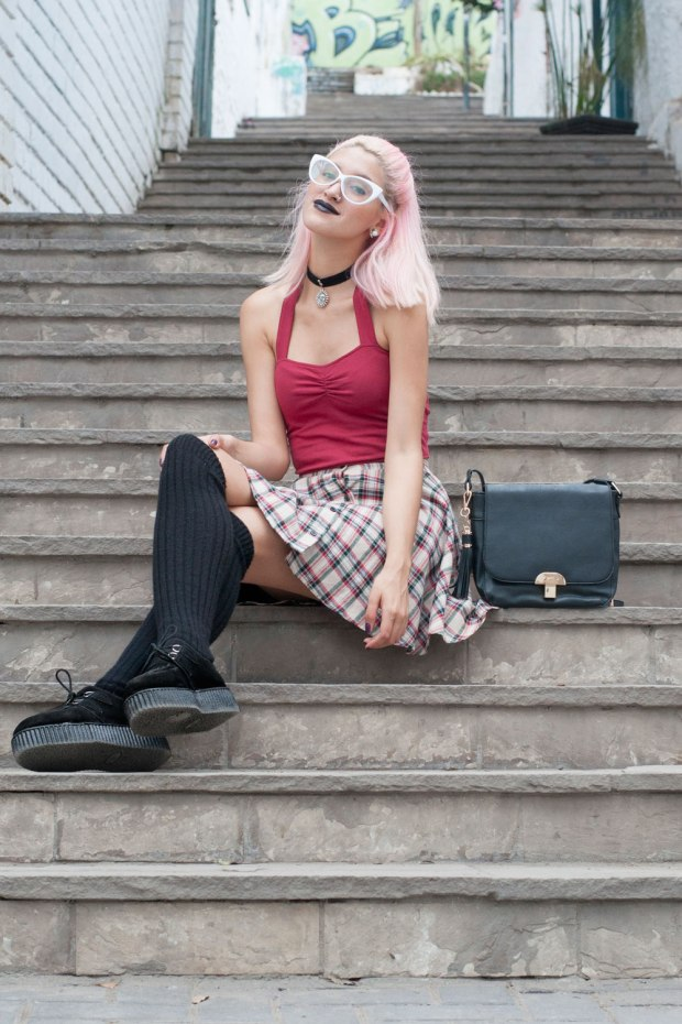 Falda Tartan Grunge Look Delilac (3)
