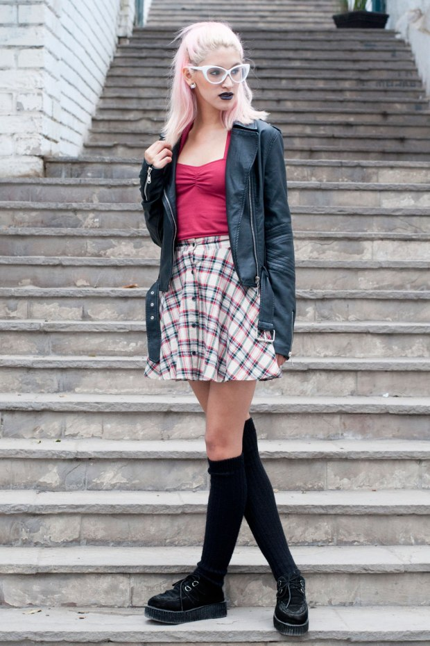 Falda Tartan Grunge Look Delilac (6)