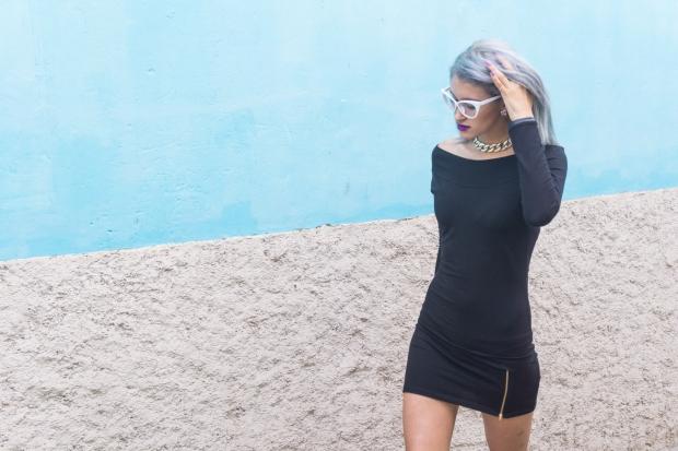 Vestido negro y stilletos lilas delilac  (9)