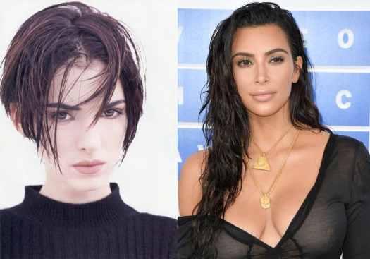 Wet hair 90s winona and kim kardashian.jpg