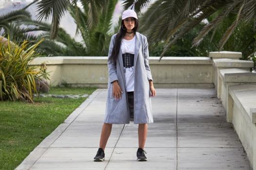Zaful.com ropa review look sporty wool coat, corset belt, baseball hat delilac (2)