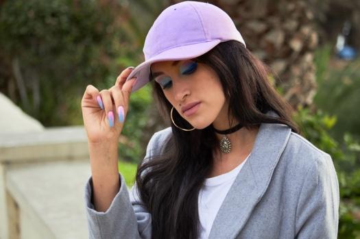 Zaful.com ropa review look sporty wool coat, corset belt, baseball hat delilac (3)
