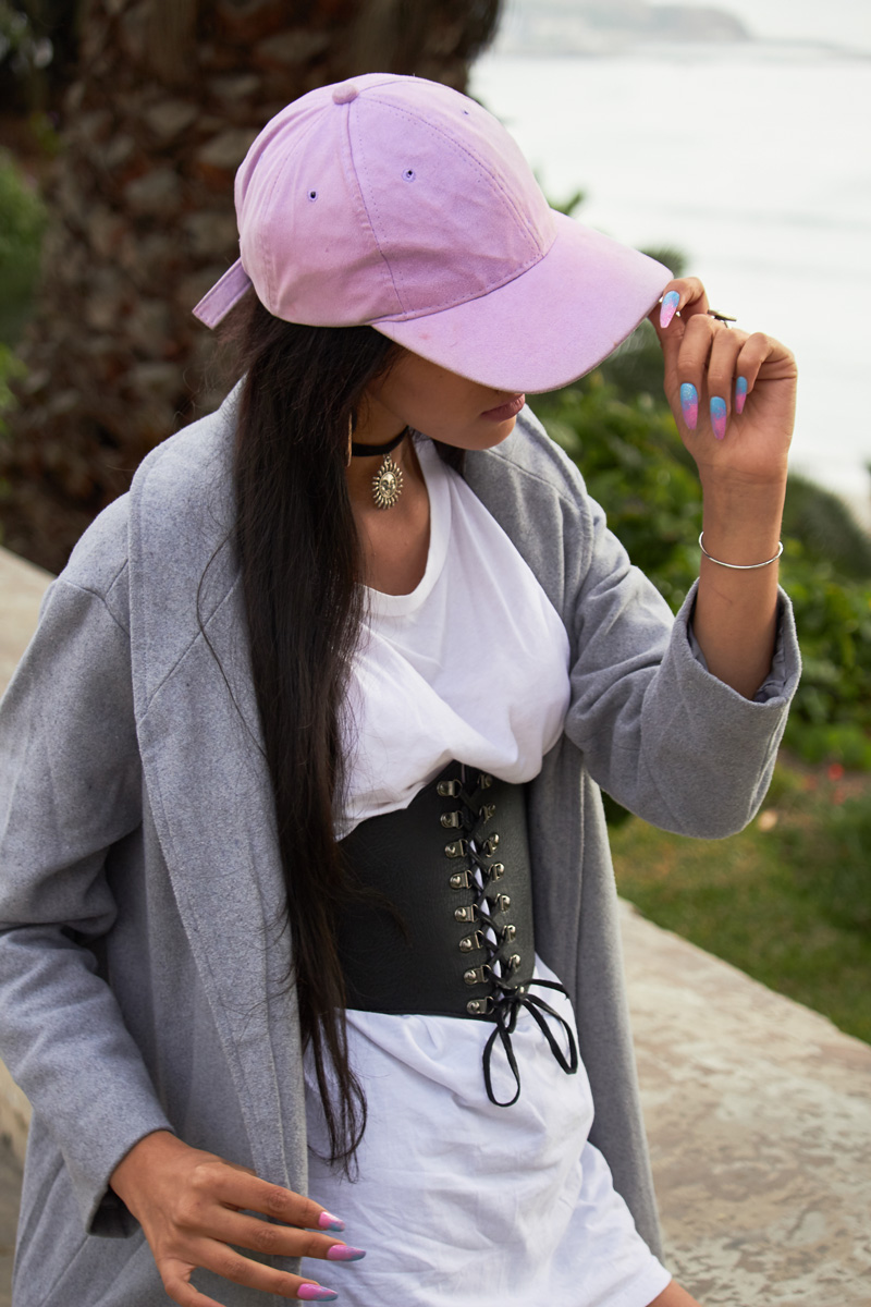 Zaful.com ropa review look sporty wool coat, corset belt, baseball hat delilac (5)