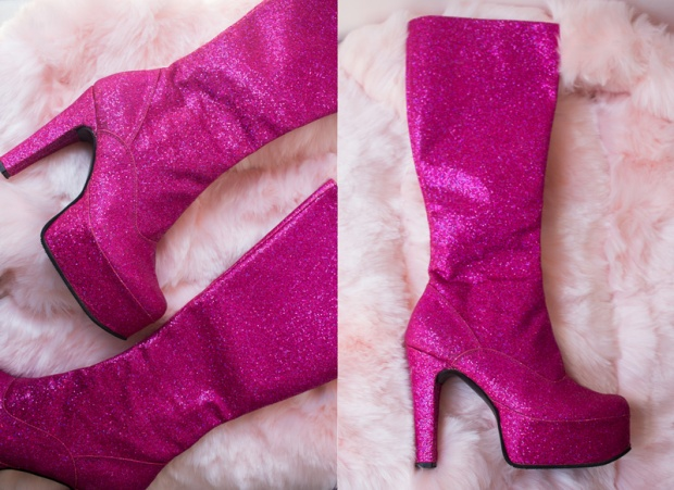 glitter pink boots delilac