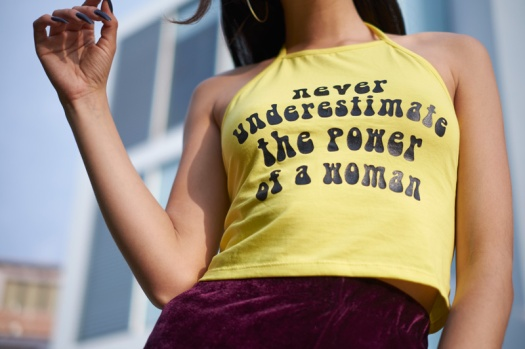 Never underestimate the power of a woman 90s halter top by fauxstore