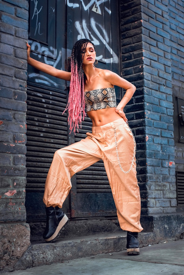 Soft ghetto look box braids yoins pants and snake tube top delilac andrea chavez (1)