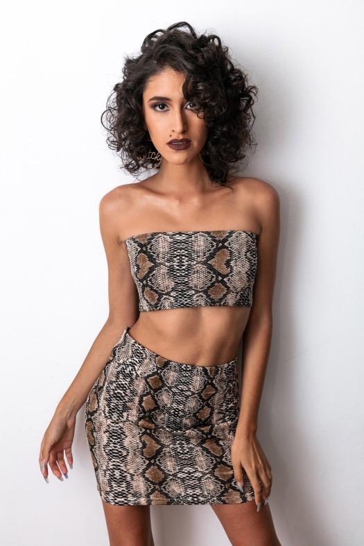 Snake animal print top and skirt delilac andrea yoins (1)